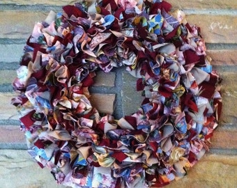 """Rag Wreath 16"""" ~ Blossoms ~ Country Cottage ~ Shabby Chic ~ Handmade ~ Best Selling Item"""