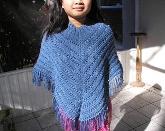 Knitted Poncho, Junior Girl - Lt. Country Blue