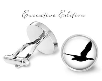 Flying Goose Cufflinks - Migrating Bird Cuff links - Geese Cufflink - Canada Goose Cufflinks (Pair) Lifetime Guarantee (S0441)