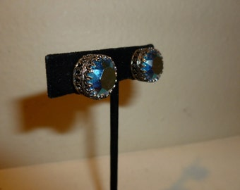 Vintage Blue And Green Aurora Borealis Clip On Earrings