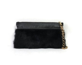 Black Fur Wristlet Clutch // More Colors