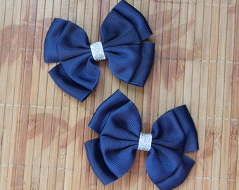 Navy blue hair clips