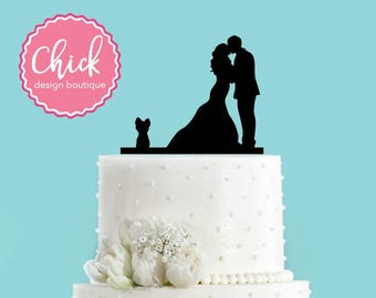 Couple Kissing with Yorkie Dog Wedding Cake Topper