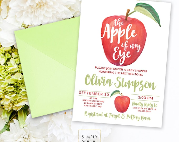 Apple Baby Shower Invitation - Watercolor Apple Bridal Shower Invite Birthday Invite Printable Apple of My Eye Apple Picking Fall Party