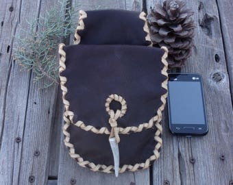 Brown leather hip bag , ready to ship, man's belt pouch , leather belt bag , cell phone bag , antler tip closure