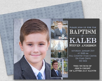 Blue baptism invite Etsy