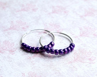 Seed Bead Hoop Earrings, Beaded Hoops, Sterling Silver Earrings, Purple Bead Earrings, Purple Hoop Earrings, Beaded Earrings, Round Earrings