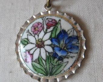 Flower Enamel Necklace Blue White Green Pink Silver Vintage Pendant