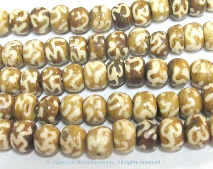 20 BEADS - Tibetan mala making Om etched brown bone beads 8 mm size - ML114C