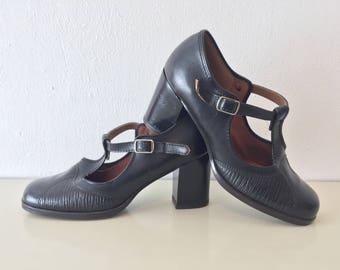 Retro schoenen zwarte skai leren jaren 60 70 Annibel black leather shoes