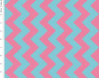 Riley Blake Chevron, Pink & Aqua Chevron Fabric, C380-08 Medium Chevron, Turquoise and Pink Fabric, Chevron Quilt Fabric, Cotton Chevron