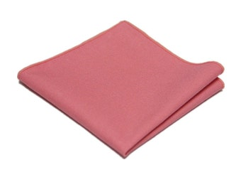 "Light Coral Linen Pocket Square.Mens Pocket Square.Light Coral  Wedding Handkerchief.Gifts.10""x 10"""