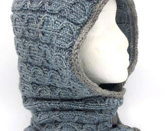 Cable Knit Hooded Cowl