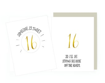 Sixteen - letterpress card