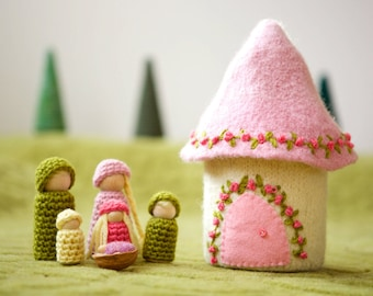 Doll house with family felted wool house wood peg dolls pink and white ready to ship