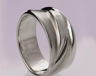 Waves No.4, Platinum Ring , Platinum band, Wedding Ring , Wedding Band , Mens Band, men's ring, platinum wedding band, platinum wedding ring