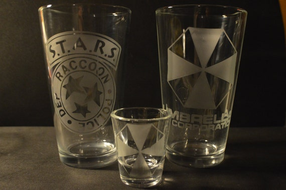 STARS and Umbrella resident evil pub glass set of 2 plus shot