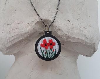 Handmade embroidery - boho floral pendants