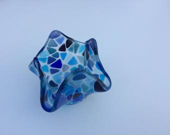 Blue mosaic fused glass tea light holder / candle holder