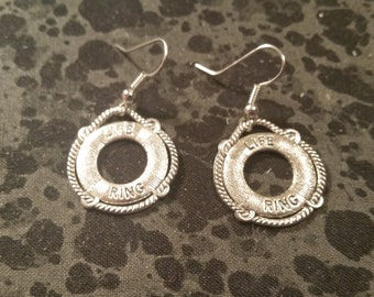 Life Preserver Earrings - Silver Tone