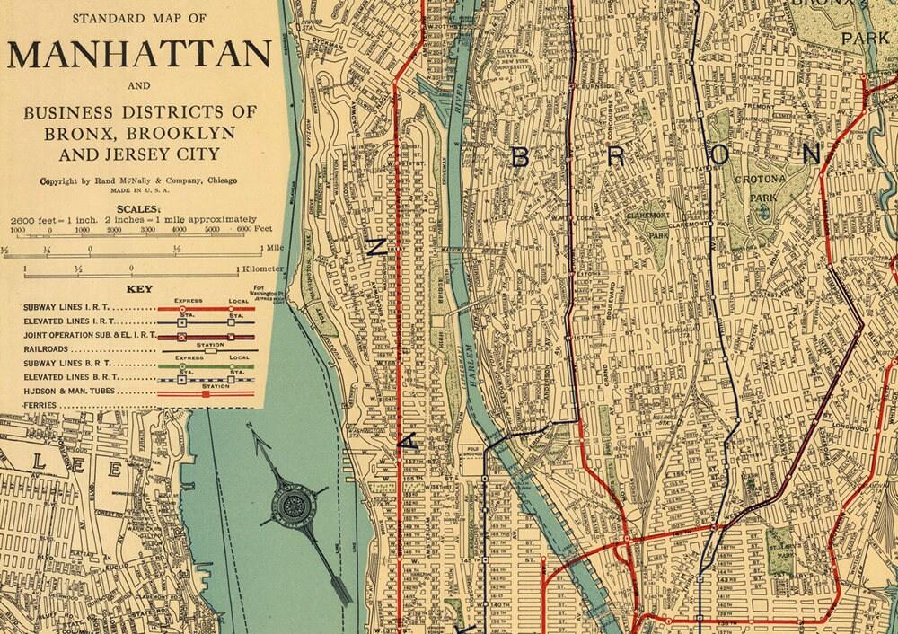 Manhattan mapNew York map PrintableVintage New York