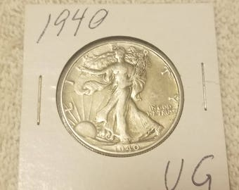 1940  Walking Liberty 50 cent piece Half Dollar Very good condition