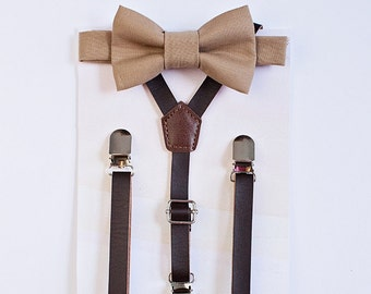 Sandy Brown Bowtie and Dark Brown Leather Suspenders, Boy Bow Tie Suspenders, Boys Suits, Fall Wedding, Ring Bearer Outfit, Baby Boy Bow Tie