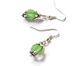 Glass Bead Earrings, Green and Silver Jewelry, Short Dangle, French Ear Wires