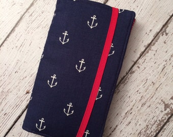 Samsung Galaxy wallet, Galaxy case - navy anchors and red accent fabric with removable gel case