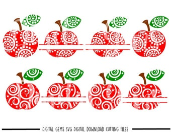 Teacher Swirly Apple, Split Apples svg / dxf / eps / png files. Download. Compatible with Cricut and Silhouette machines. Commercial use ok.