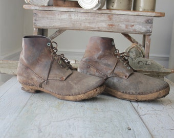 Antique French Hobnail Brown Boots Work Shoes Leather Wooden Sole Beautiful Pair primitive laced old