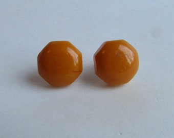 Vintage Bakelite NOS Golden Yellow Smaller Pierced Octagon Earrings