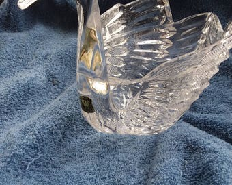 Vintage Hand Cut Lead Crystal Swan Candy Dish, Planter, Golden Crown E&R, West Germany