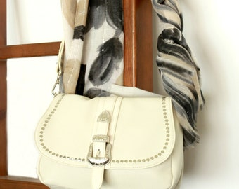 Small crossbody bag , Cream vegan shoulder bag with zipper, Studded messenger bags women