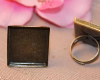 x 1 medium square Adjustable ring bronze cabochon 25x25mm