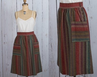 Vintage 1970s striped skirt with pockets