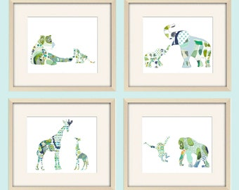 elephant nursery decor, elephant art, safari nursery, elephant print, jungle nursery,baby boy nursery,baby wall decor, baby animal prints