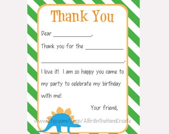 Kids Fill In the Blank Thank You Cards for Boys (Dinosaurs - T Rex, Brontosaurus, Triceratops, Stegosaurus)