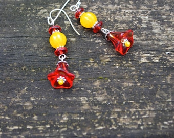 Red Flower Earrings with Yellow Centers handmade red yellow and silver earrings unique colorful handmade jewelry gift