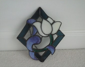 Stained Glass Diamond Shape Tulip Hanging