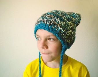 Crochet Cat Hat in Teal, Brown, and White with Long Braids - crochet winter hats for men - crochet winter hats for women