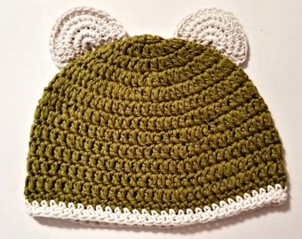 Bear hat, Adult hat with bear ears, bear hat in adult size, organic cotton