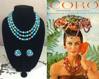 Hotel Tropicana Here We Come - Vintage 1950s Turquoise Blue Shades 3 Strand Necklace & Earring Set