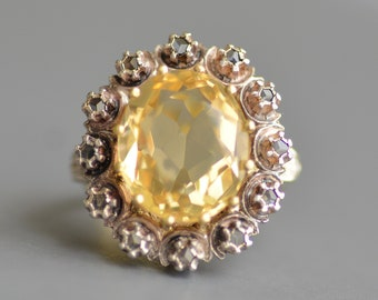 Vintage 8.76ct yellow citrine and rose cut diamond ring in 18k gold and sterling silver