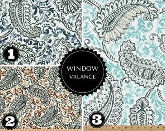 Paisley Floral Window Valance - Window Topper - Curved or Straight LINED-Valance, Indigo Caramel Paisley - Blue - Aqua - Navy - Brown
