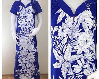 30% Off Sale 80s Sand Pebble of Hawaii Purple White Hawaiian Maxi Dress Muu Muu, Size Medium to Large