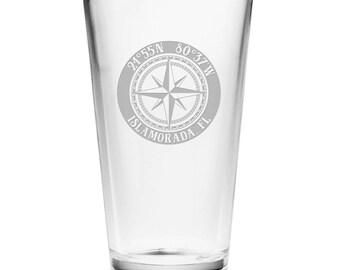 Custom Coordinates Compass Rose Pint Glasses S/4, Latitude Longitude Glassware