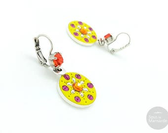 Round earrings flat yellow-green, orange and fuchsia, boho earrings colorful, ethnic chic earrings