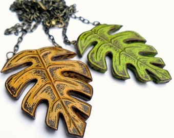 Tropical Leaf Necklace, Palm Leaf Necklace, Jungle Leaf Pendant, Lime Green or Mustard Yellow Necklace, Statement Necklace, Vacation Jewelry