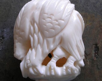 Carved Bone Bead Eagle Vintage Focal Bead For Jewelry Making